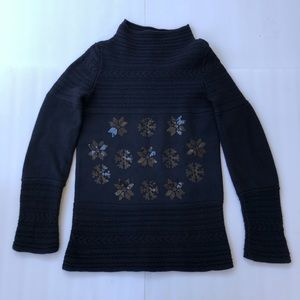 Philosophy sz 6 thick blue sweater embellishments
